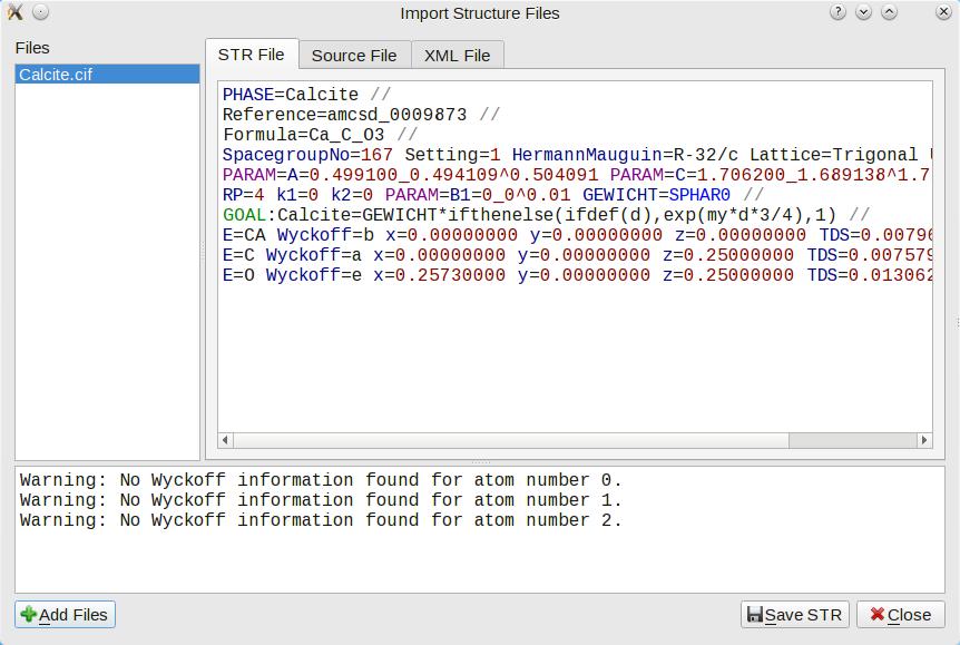 Converting CIF to STR files   Profex